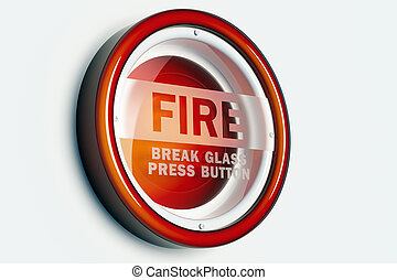 FIRE ALARM BUTTON - A red fire alarm button isolated on a...
