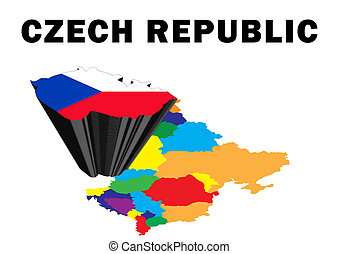 Czech Republic - Outline map of Eastern Europe with the...