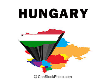 Hungary - Outline map of Eastern Europe with Hungary raised...