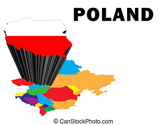 Poland - Outline map of Eastern Europe with Poland raised...
