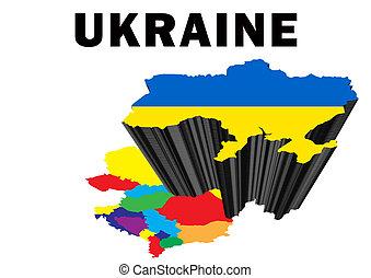 Ukraine - Outline map of Eastern Europe with Ukraine raised...