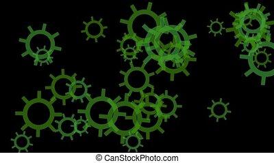 rotating green gears or wheel loop