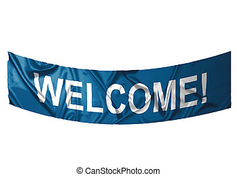 Welcome banner - A blue banner with white text saying...