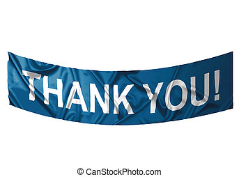 Thank you banner - A blue banner with white text saying...