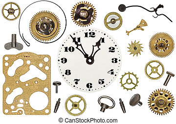 Spare parts for clock. Metal gears, cogwheels, clock face and other details