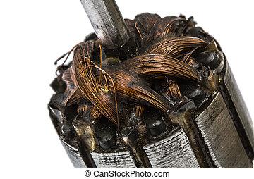 viejo, dañado, rotor, de, eléctrico, motor,...