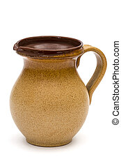 Old pitcher, isolated on white background