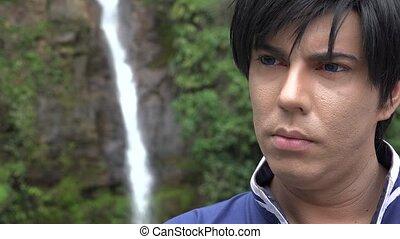 Cosplay Prince At Waterfall
