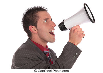Announcement - A handsome businessman using a megaphone. All...