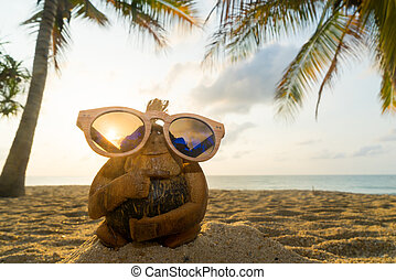 Coconut monkey at the beach - Coconut monkey with sunglasses...