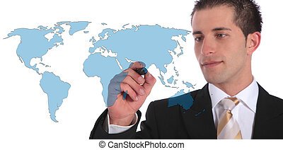 Global market expansion - A handsome businessman presenting...