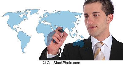Global market expansion - A handsome businessman presenting...