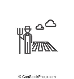 Farmer with pitchfork line icon. - Farmer with pitchfork...