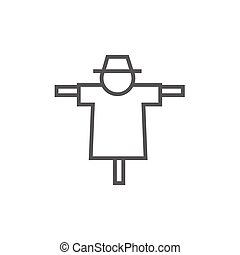 Scarecrow line icon. - Scarecrow thick line icon with...