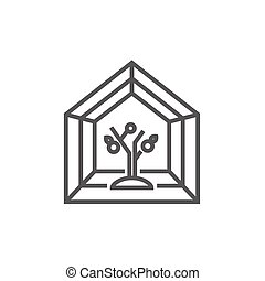 Greenhouse line icon - Greenhouse thick line icon with...