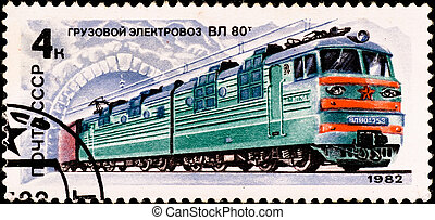 "postage stamp shows russian train ""VL-80\"" - USSR - CIRCA..."