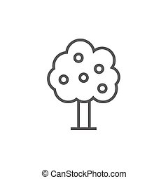 Fruit tree line icon. - Fruit tree thick line icon with...