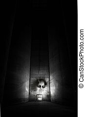 Deamon head - Demon in a dark building.