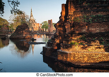 Mega flood at ancient temple in Ayuttaya historical...