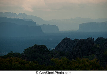 Beautiful lanscape of Limestone mountains after sunset, Laos