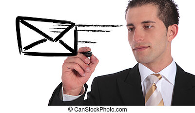 Mail - A handsome businessman sketching a flying envelope....
