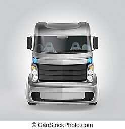 Front view of hybrid electric truck