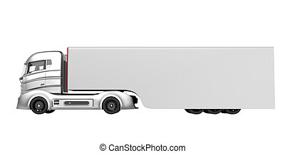 Side view of  hybrid electric truck
