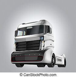 Hybrid electric truck isolated on gray background Clipping...