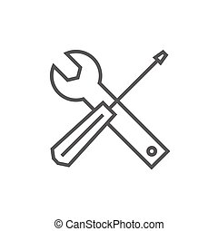 Screwdriver and wrench tools line icon.