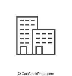 Factory line icon - Factory thick line icon with pointed...