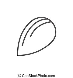 Almond line icon. - Almond thick line icon with pointed...