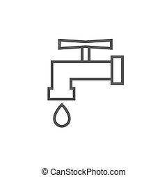 Faucet with water drop line icon - Faucet with water drop...