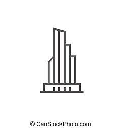 Skyscraper office building line icon.