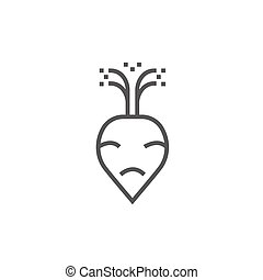 Beet line icon - Beet thick line icon with pointed corners...