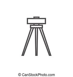 Theodolite on tripod line icon. - Theodolite on tripod thick...