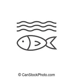 Fish under water line icon - Fish under water thick line...