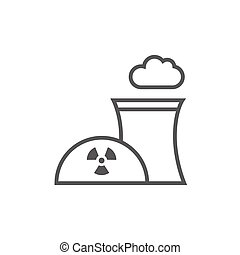 Nuclear power plant line icon. - Nuclear power plant thick...