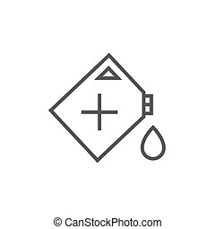 Gas container line icon - Gas container thick line icon with...