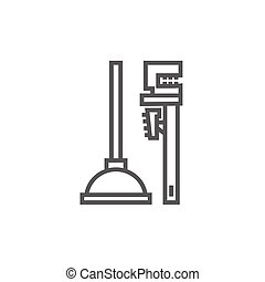Pipe wrenches and plunger line icon. - Pipe wrenches and...
