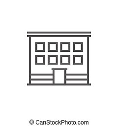 Office building line icon - Office building thick line icon...