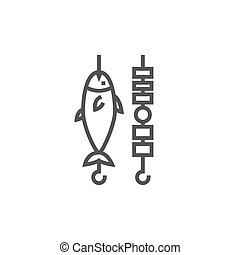 Shish kebab and grilled fish line icon. - Shish kebab and...