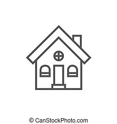 Detached house line icon - Detached house thick line icon...