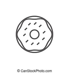 Doughnut line icon - Doughnut thick line icon with pointed...