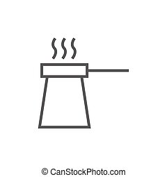 Coffee turk line icon - Coffee turk thick line icon with...