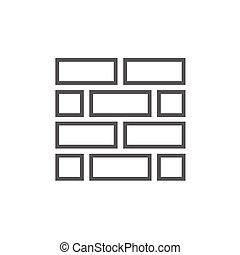 Brickwall line icon. - Brickwall thick line icon with...
