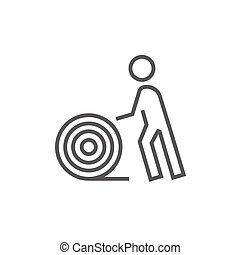 Man with wire spool line icon - Man with wire spool thick...