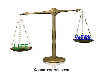 Life Work Balance - Concept image of a scale showing the...