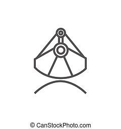 Mining industrial scoop line icon. - Mining industrial scoop...