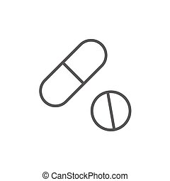 Pills line icon. - Pills thick line icon with pointed...
