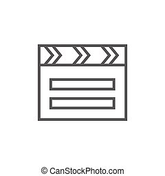 Clapboard line icon - Clapboard thick line icon with pointed...
